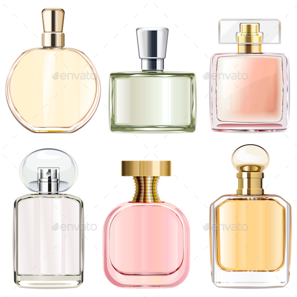GraphicRiver Vector Female Perfume Bottles 21070917