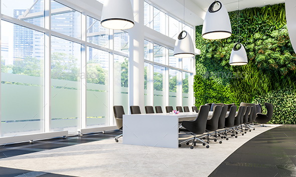 Meeting Hall In Business Center With Green Wall - 3D Backgrounds