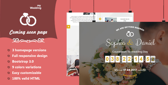 myWedding - Coming Soon HTML Template - Wedding Site Templates