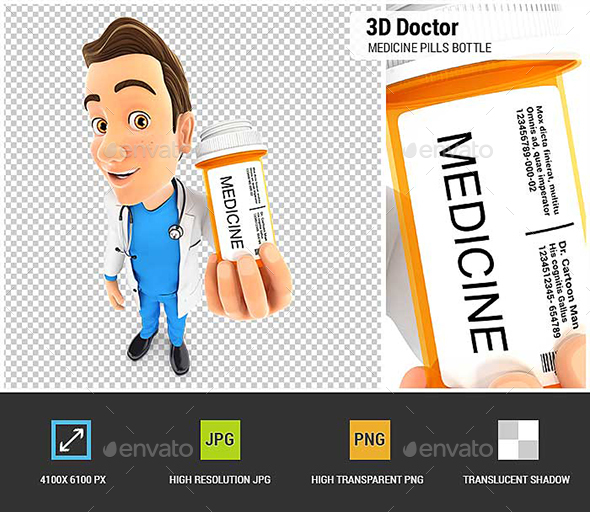 GraphicRiver 3D Doctor Holding Medicine Pills Bottle 21071180