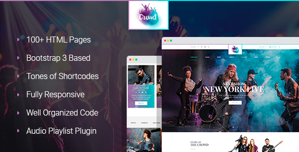 TheCrowd - Rock Band Page HTML Template with Page Builder Free Download | Nulled