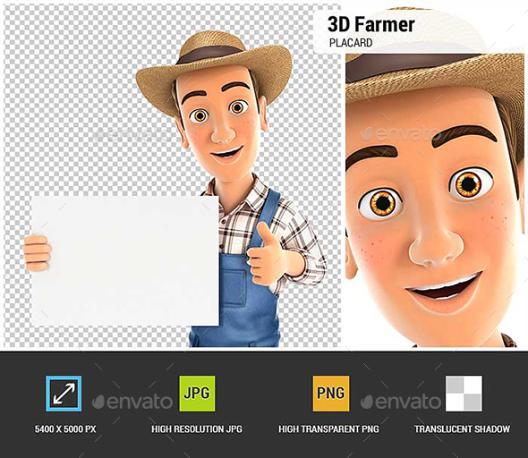 GraphicRiver 3D Farmer Holding Placard with Thumb Up 21071199