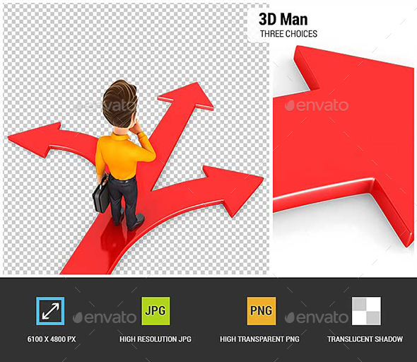 GraphicRiver 3D Man Three Choices 21071207