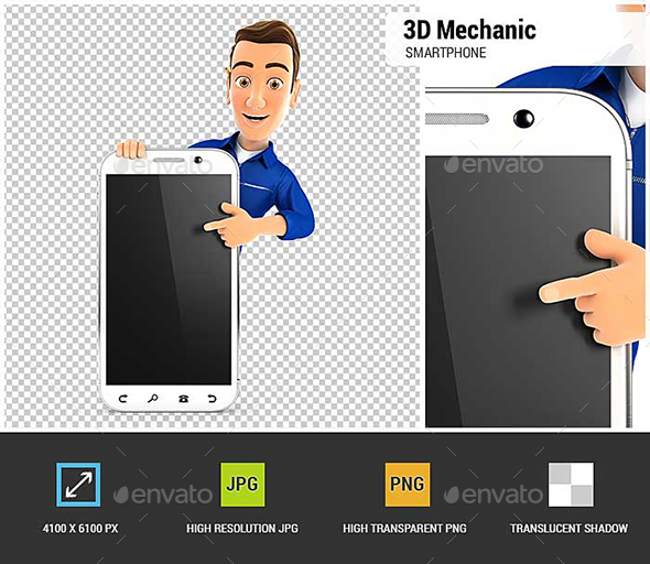 GraphicRiver 3D Mechanic Pointing to Blank Smartphone 21071210