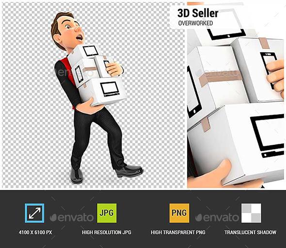 3D Seller Overworked - Characters 3D Renders