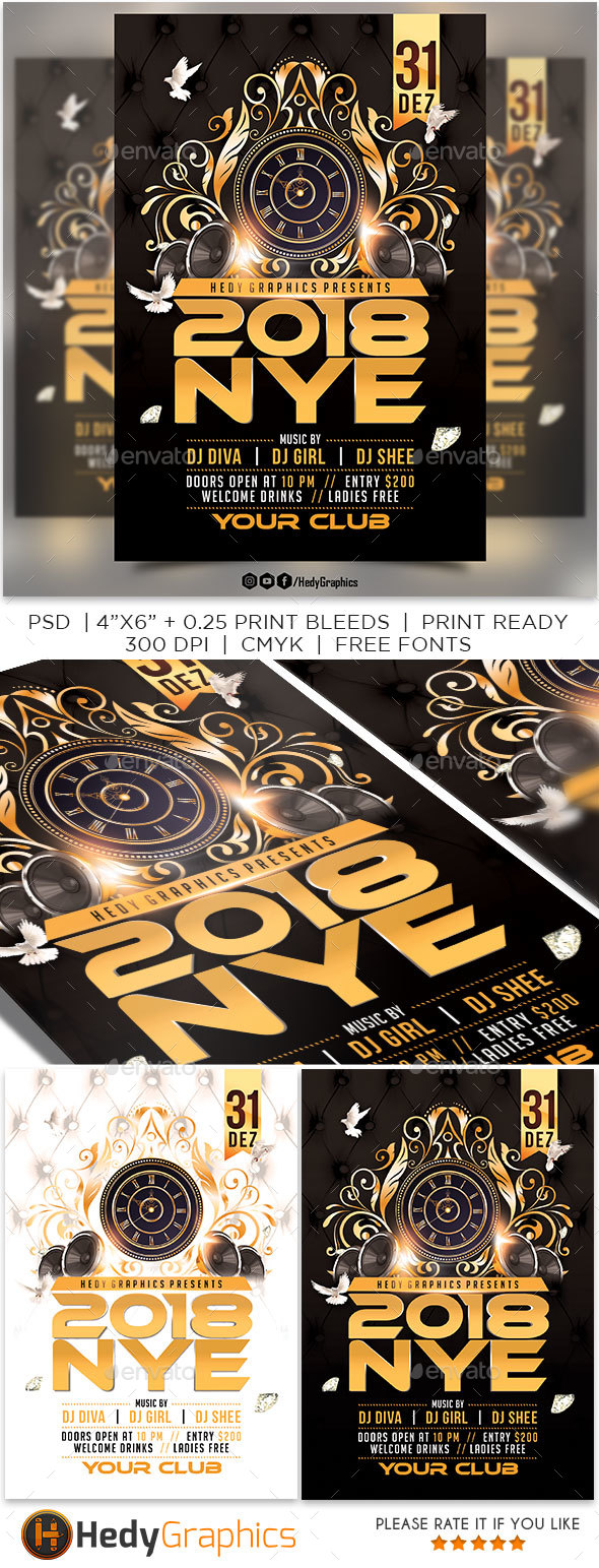 GraphicRiver 2018 Nye Party Flyer 21071232