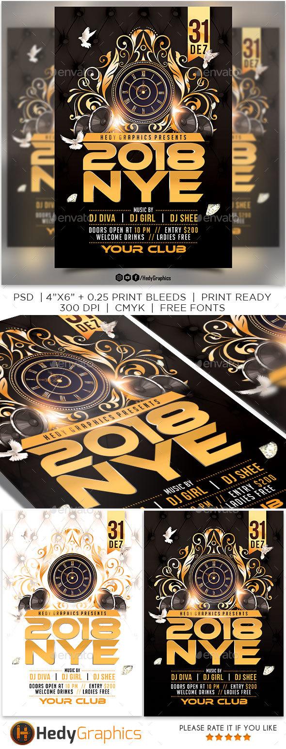 2018 Nye Party - Flyer - Flyers Print Templates