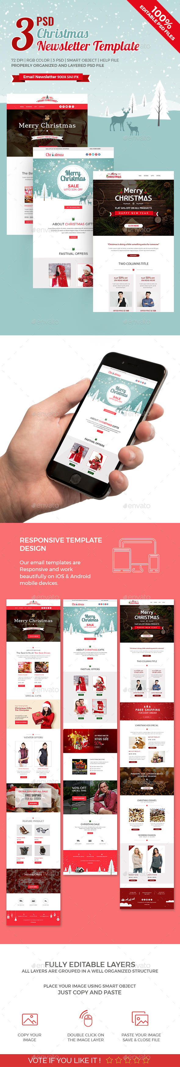 GraphicRiver 3 Christmas Newsletters 21071270