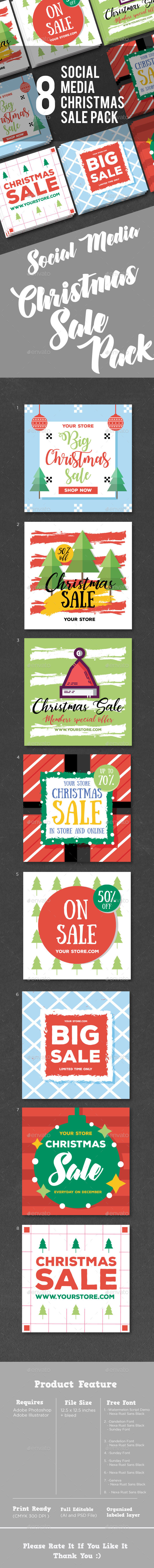 GraphicRiver Christmas Sale Social Media Pack 21071334