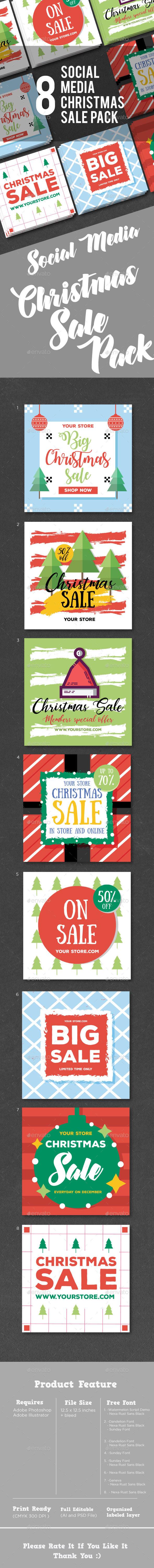 Christmas Sale Social Media Pack - Social Media Web Elements