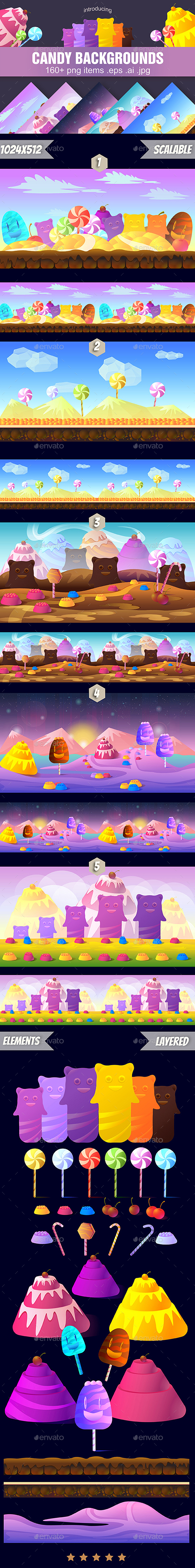 5 Cartoon Candy Game Backgrounds - Backgrounds Game Assets