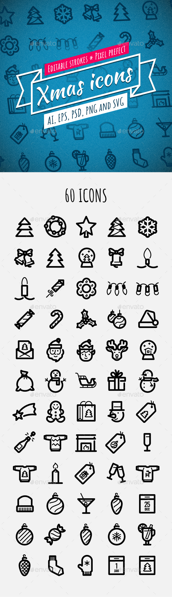 GraphicRiver 60 Xmas Icons 21071586