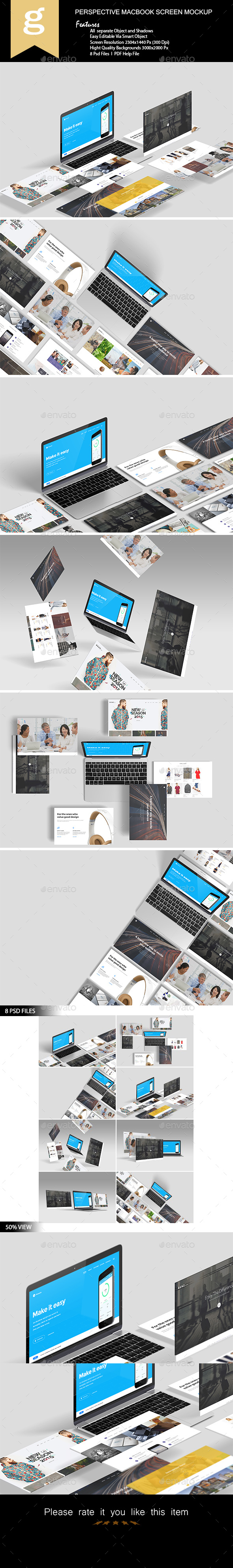 GraphicRiver Perspective Macbook Screen Mock-Up 21071639