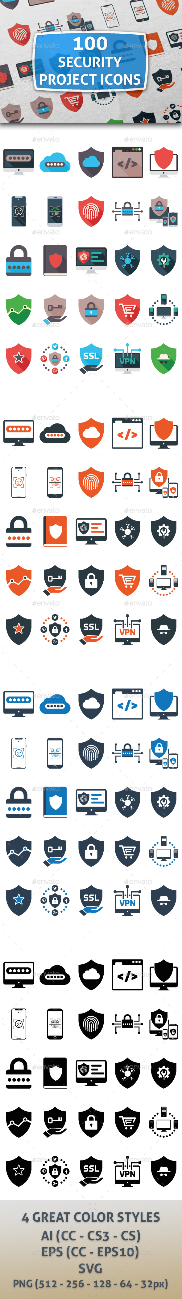 GraphicRiver 100 Security Icons 21071671