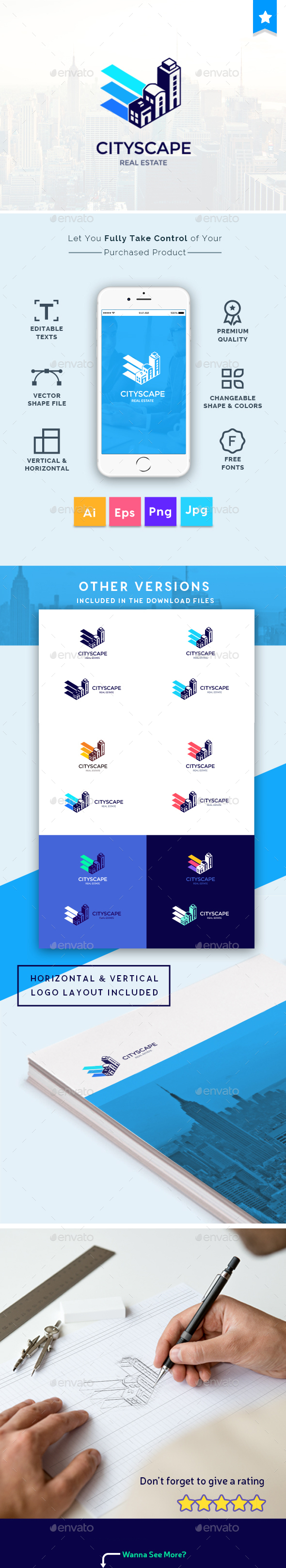 Cityscape - City, Real Estate, Building Property, Creative Logo Template - Logo Templates