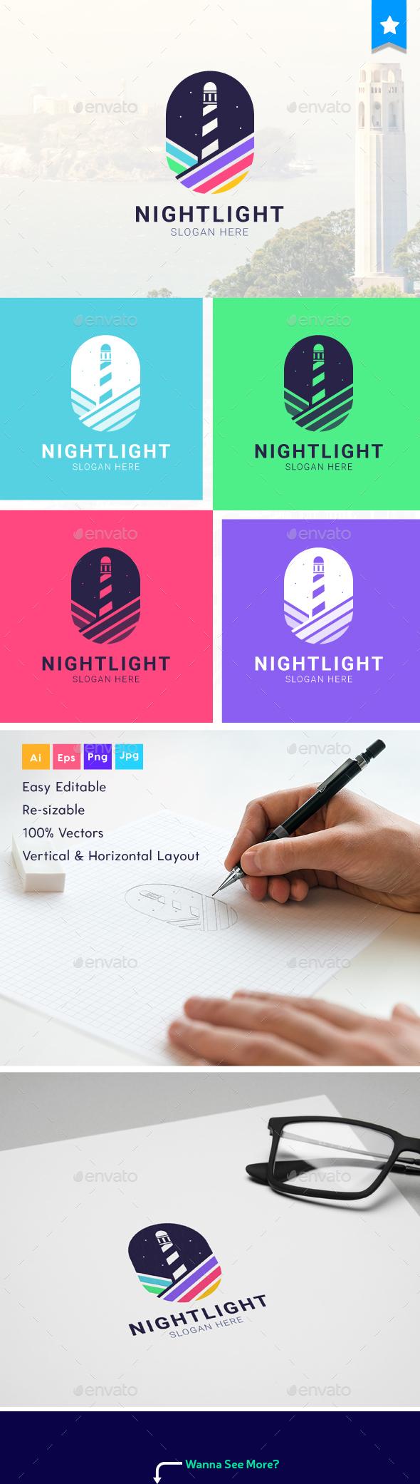 Night Light - colorful Logo - Logo Templates