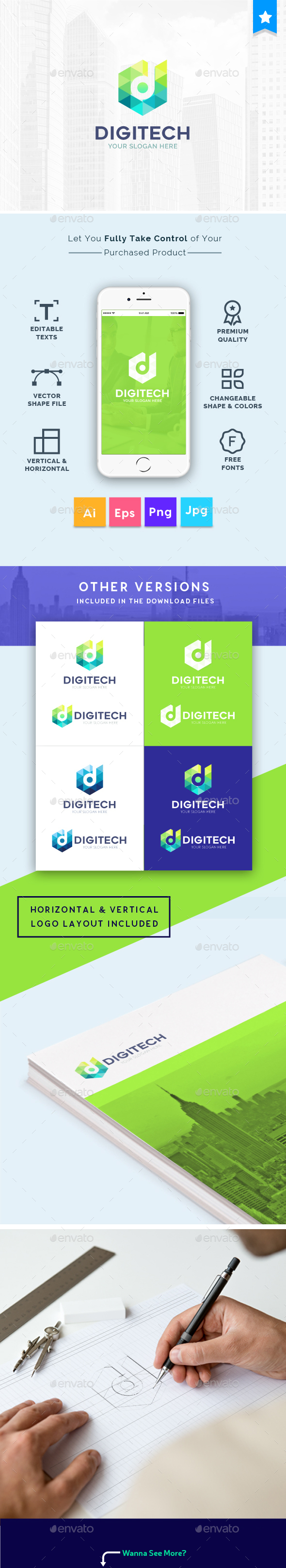 Digital Technology Company Creative Logo Template - Vector Abstract