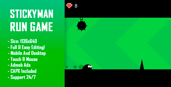 Stickyman Run - HTML5 Game + Mobile Version! (Construct-2 CAPX) - CodeCanyon Item for Sale