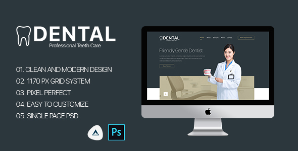 Dental - Single Page Dental PSD Template