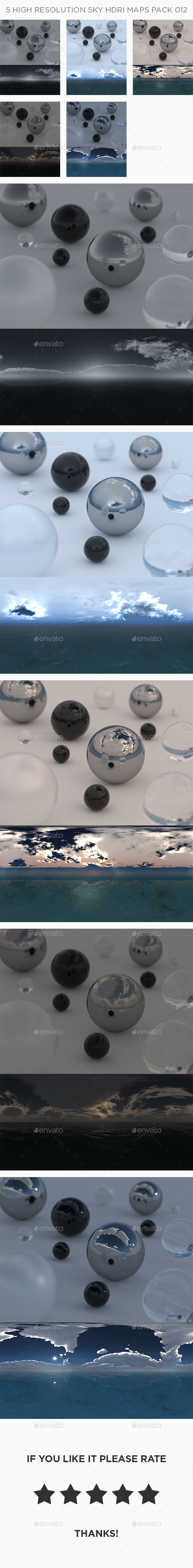5 High Resolution Sky HDRi Maps Pack 012 - 3DOcean Item for Sale