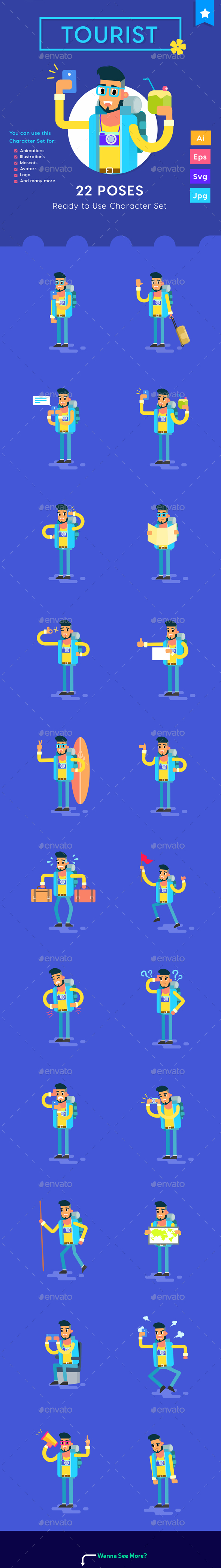 Male Tourist Travelling with Smartphone Character Set - Vectors
