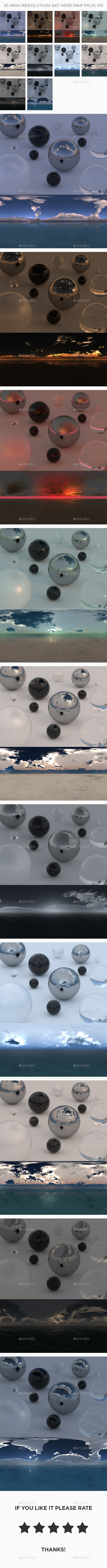 3DOcean 10 High Resolution Sky HDRi Maps Pack 011 21072400