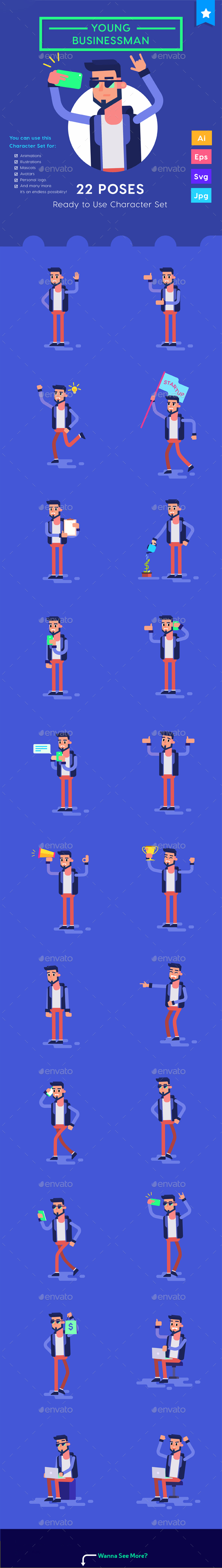 Character set - Young Businessman Millennials Startup with Smartphone - People Characters