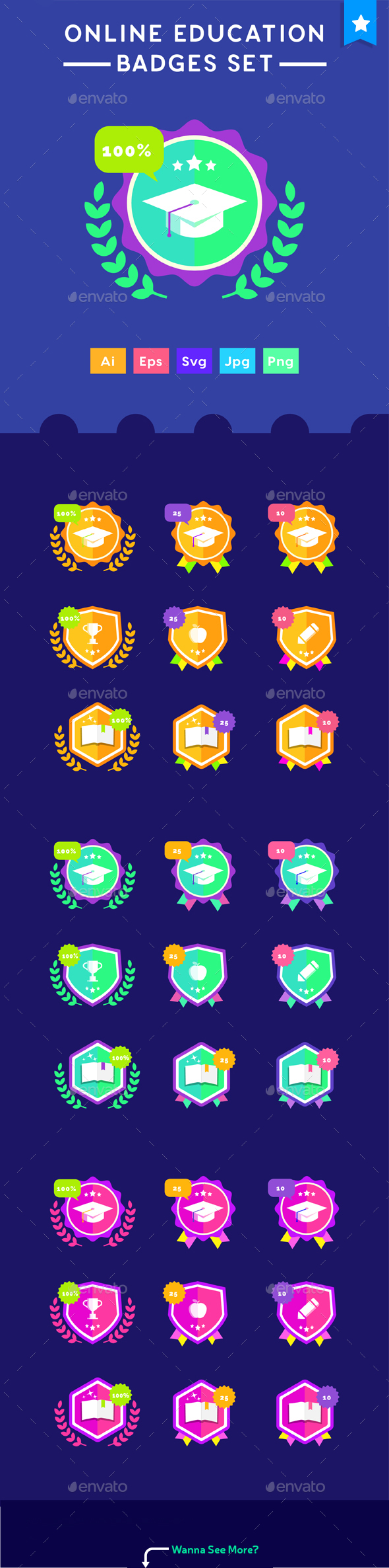 Badges Set - Online Education Achievement Level Badges for e-learning website - Vectors