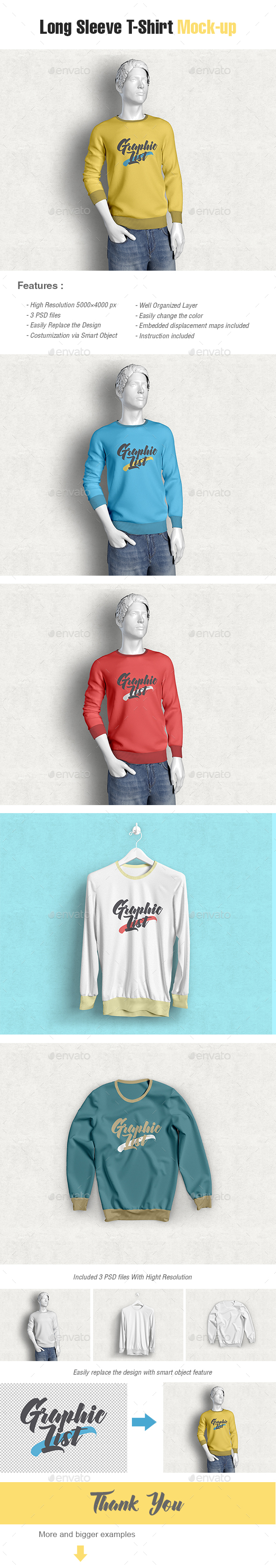 Long Sleeve T-shirt Mockups - Miscellaneous Apparel