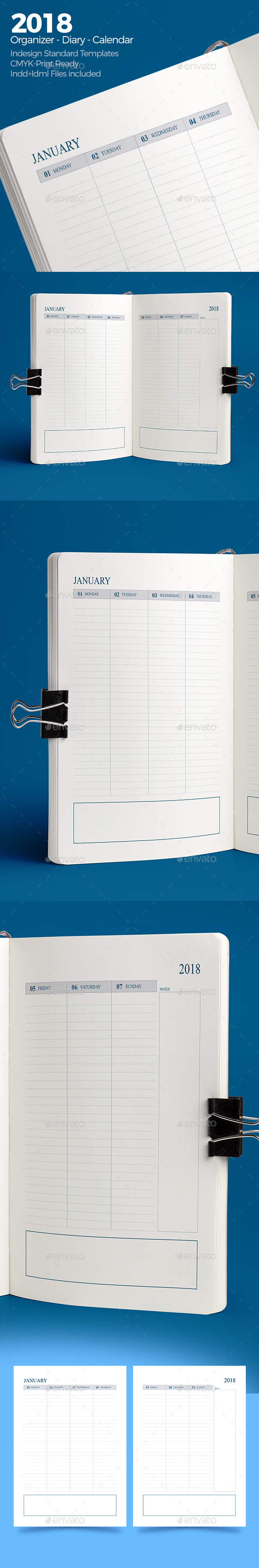 Weekly Diary Planner 2018 v4 - Calendars Stationery