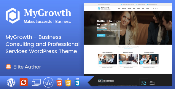 Image of My Growth - Business Consulting and Professional Services WordPress Theme