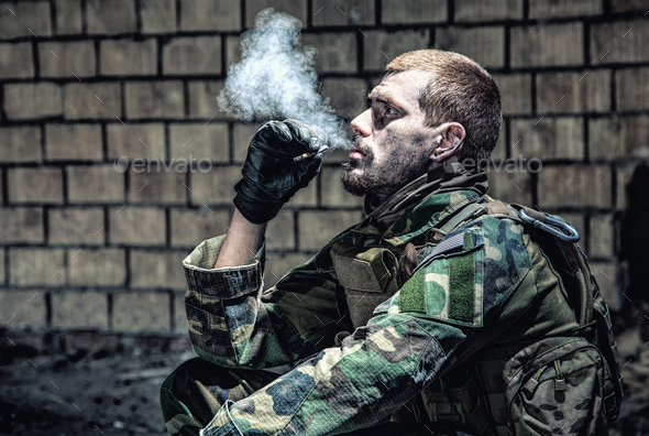 Smoking after the fight - Stock Photo - Images
