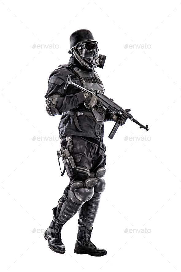 Futuristic nazi soldier with schmeisser - Stock Photo - Images