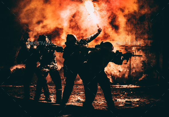 Attacking squad with fires - Stock Photo - Images