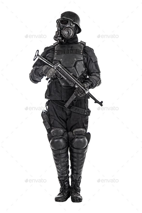 Futuristic nazi soldier studio shot - Stock Photo - Images