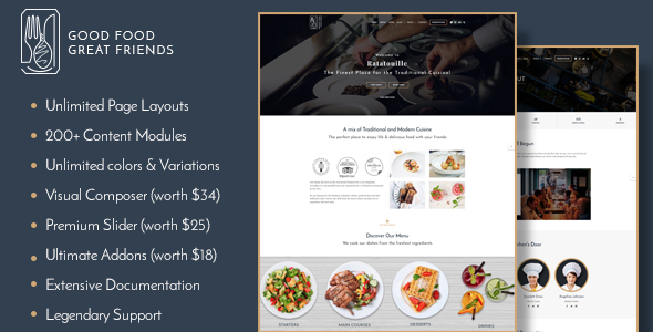 Ratatouille - Restaurant WordPress Theme - Restaurants & Cafes Entertainment