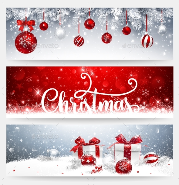 GraphicRiver Christmas Banners Set with Balls and Gifts 21073061