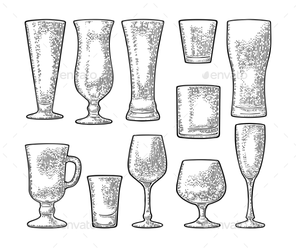 GraphicRiver Set Empty Glasses 21073230