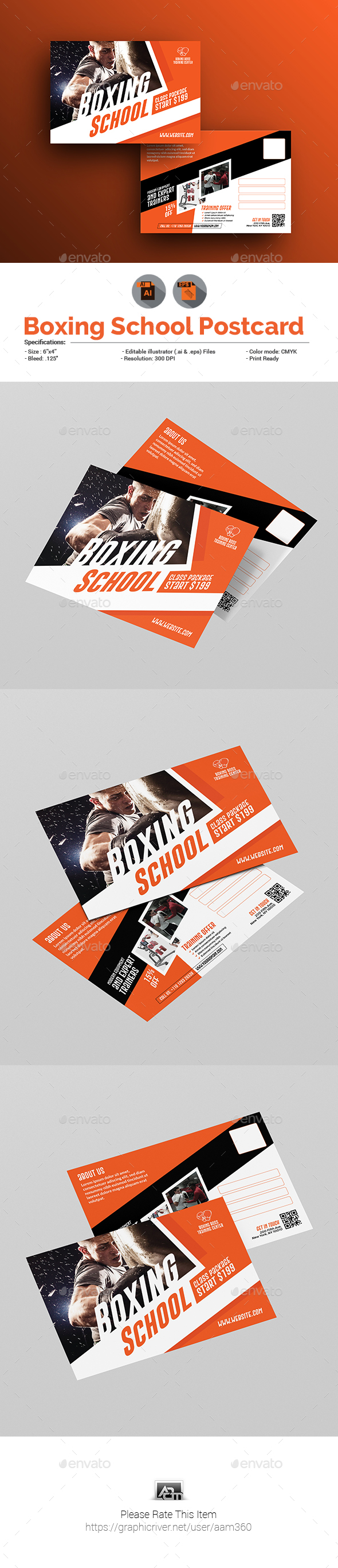 Boxing School Postcard Template - Cards & Invites Print Templates