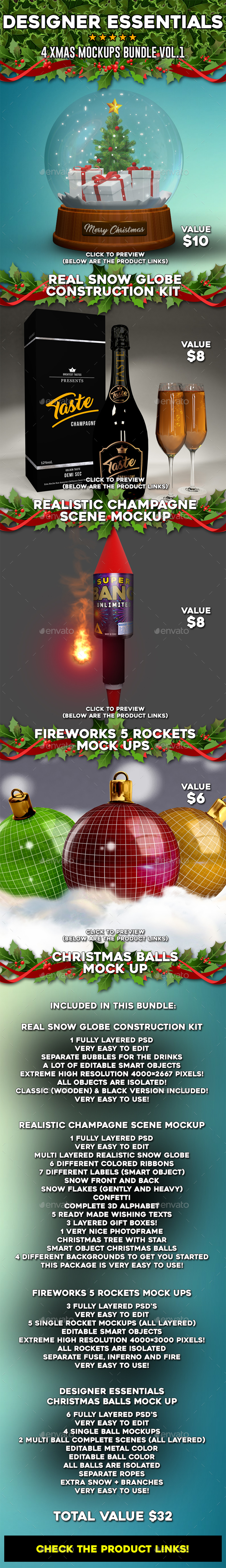 Xmas Mockups Bundle Vol.1 - Product Mock-Ups Graphics