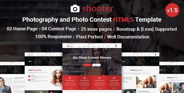 Shooter Photography Portfolio and Photo Contest HTML5 Responsive Template