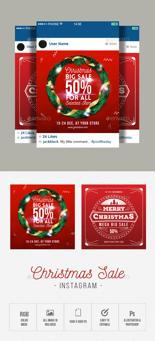 GraphicRiver Christmas Sale Instagram 21073903