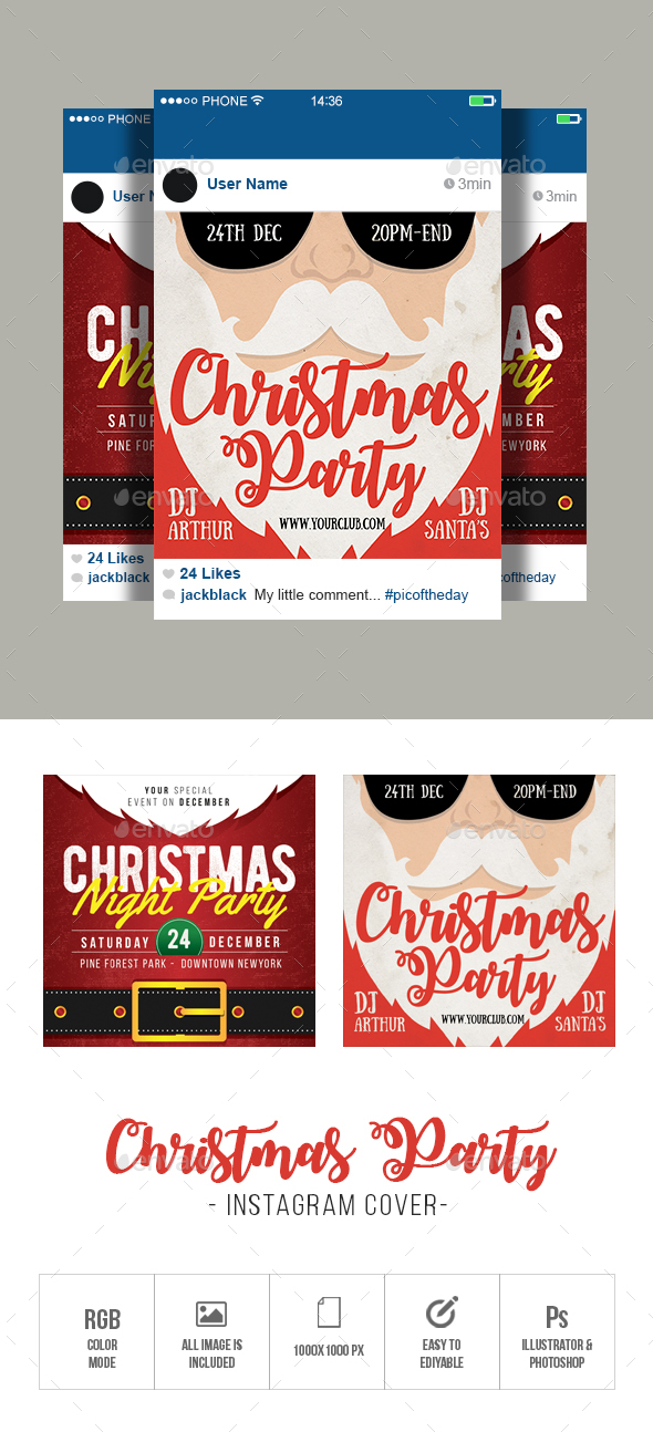 GraphicRiver Christmas Party Instagram 21073922