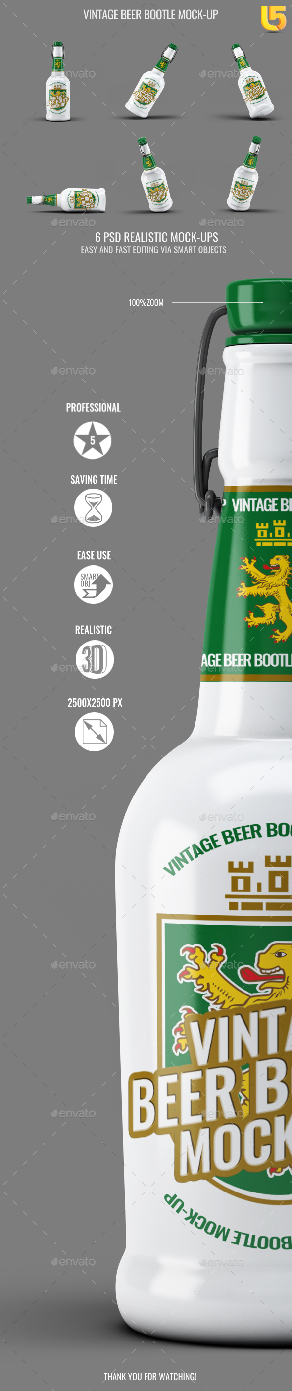 Vintage Beer Bootle Mock-Up - Food and Drink Packaging