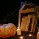 Halloween Cemetery , Candles and Jack-o-lantern