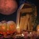 Halloween Cemetery, Blood Moon and Jack-o-lantern