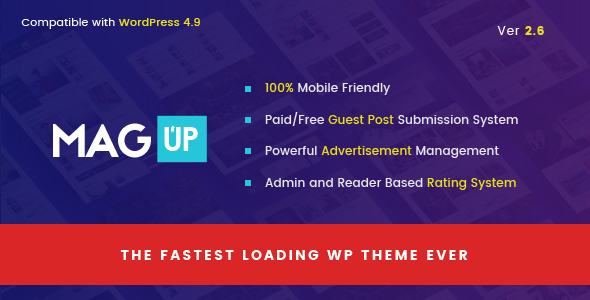 MagUp - Modern Styled Magazine WordPress Theme with Paid / Free Guest Blogging System - News / Editorial Blog / Magazine