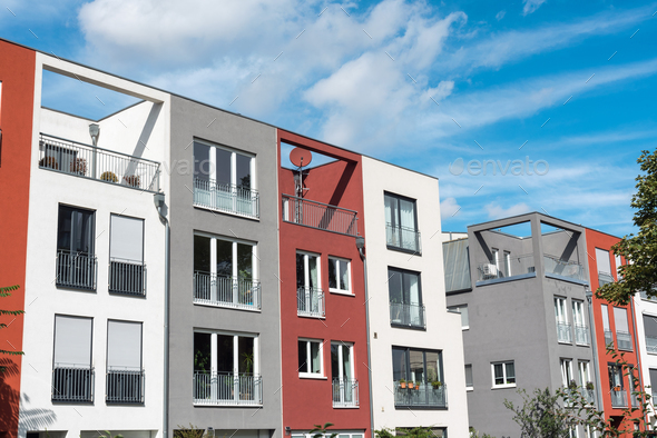Modern serial townhouses in Berlin - Stock Photo - Images