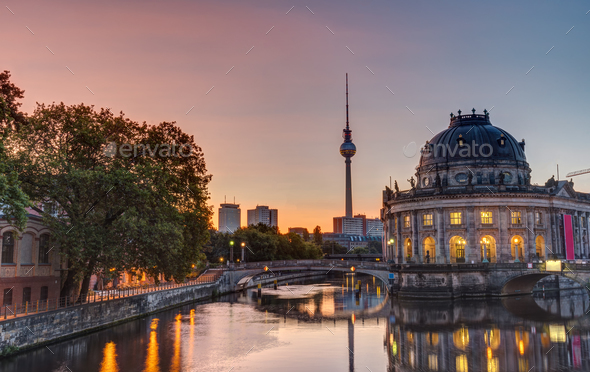 Beautiful sunrise at the Museum Island in Berlin - Stock Photo - Images