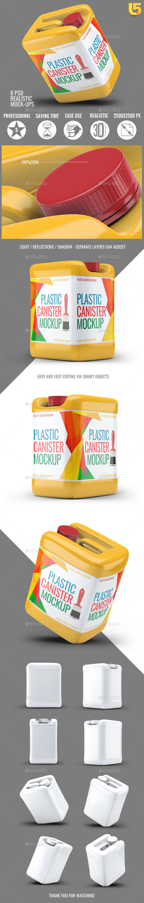 GraphicRiver Plastic Canister Mock-Up 21074422